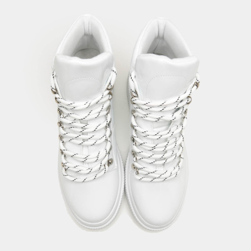 White YURIE Quilted High Top Trainers 3 view 3