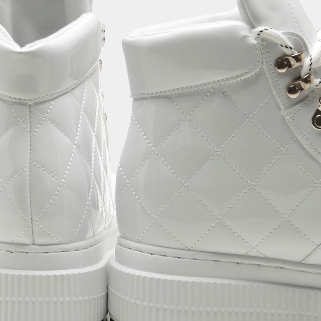 White YURIE Quilted High Top Trainers 4 view 4