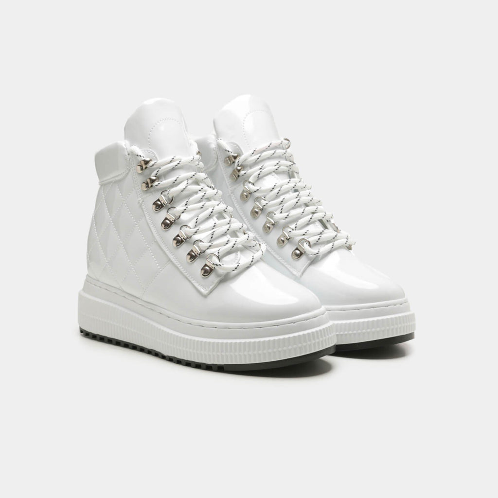 White YURIE Quilted High Top Trainers 2 view 2