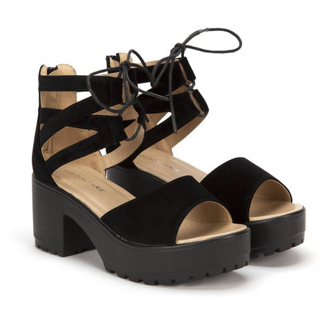 Cutout Lace Up Sandal in Black Suede
