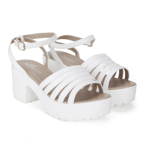 White Multi Strap Chunky Sandals