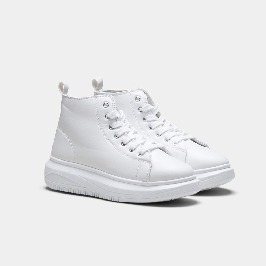 White PRETA High Top Sleek Trainers 3 view 3