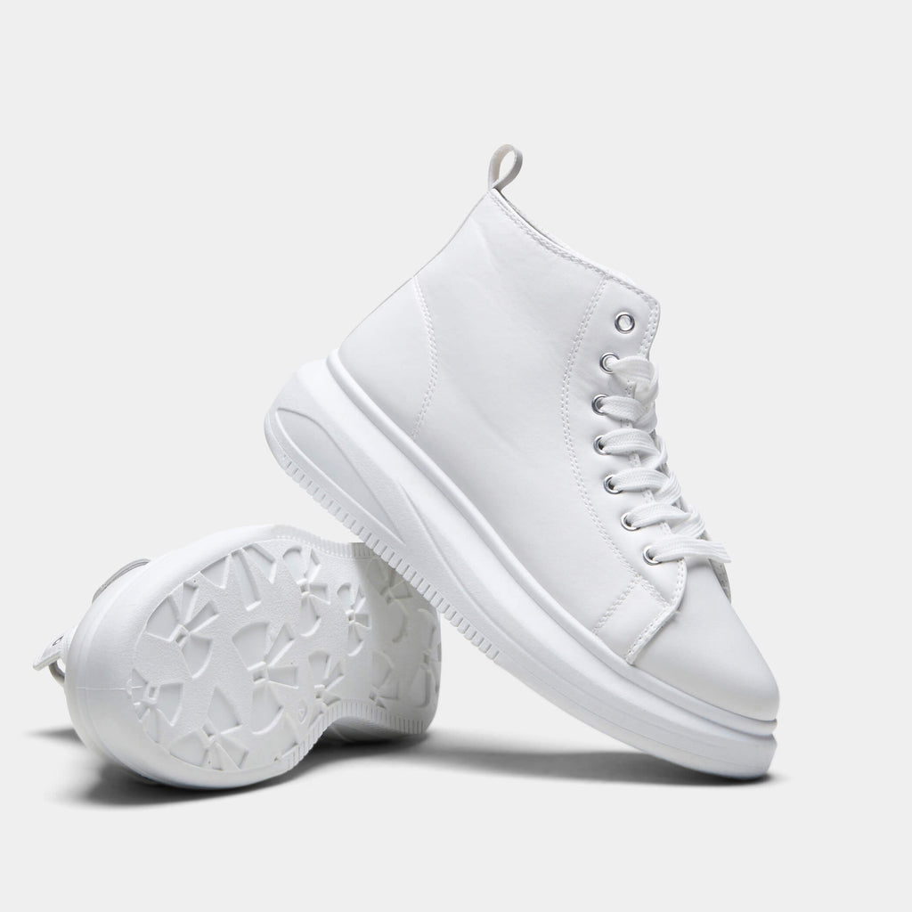 White PRETA High Top Sleek Trainers 2 view 2