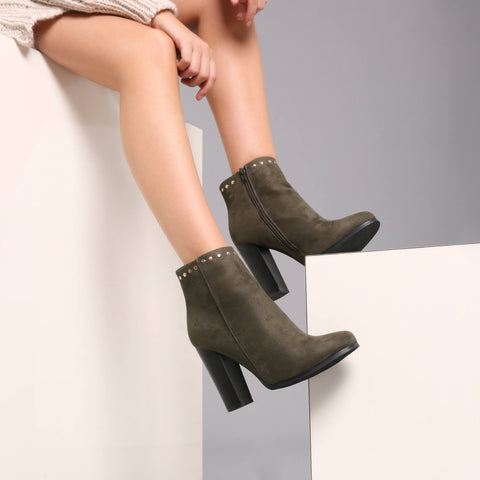 Studded Row Ankle Boot in Khaki Suede