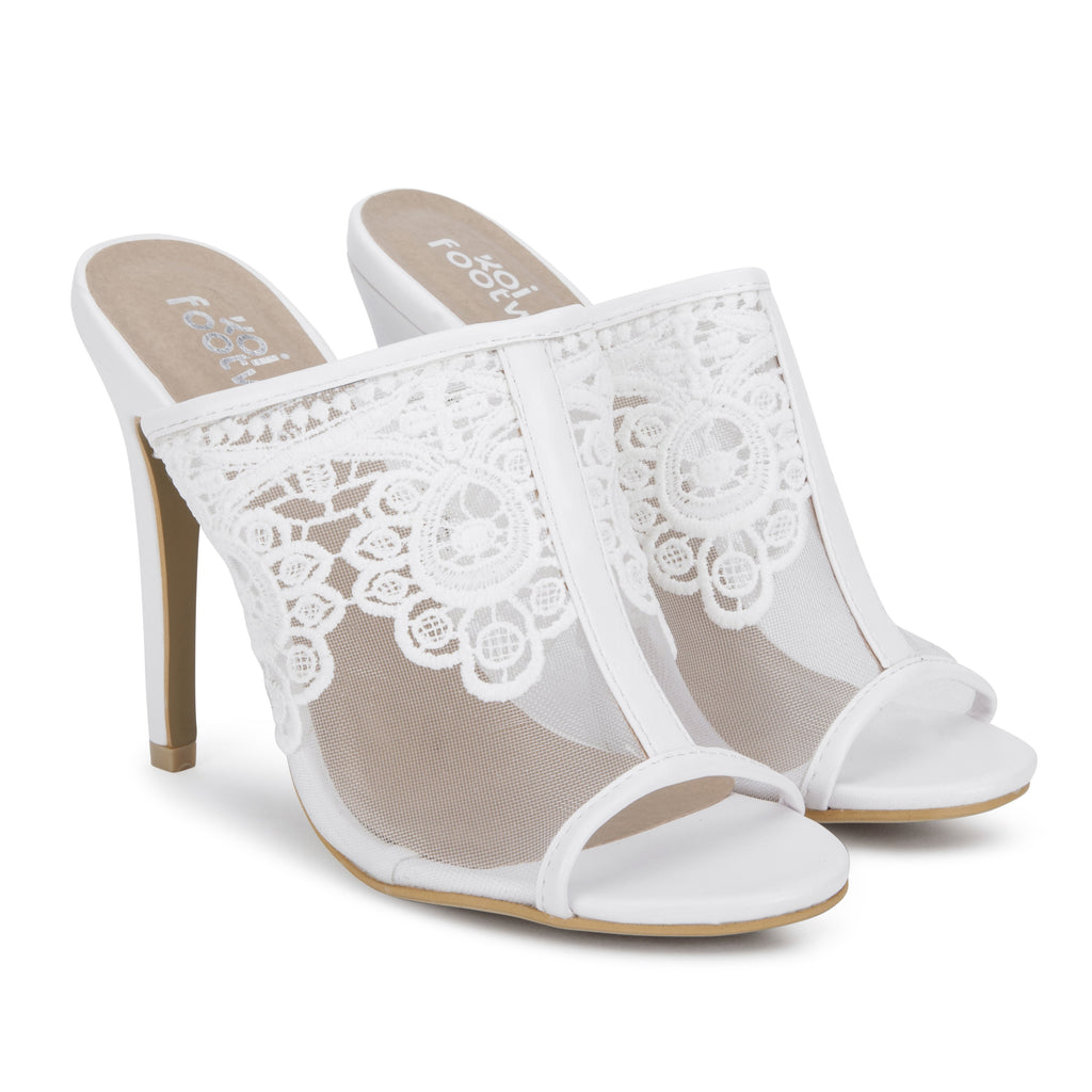 MYRA Embroidered Lace Mules view 2
