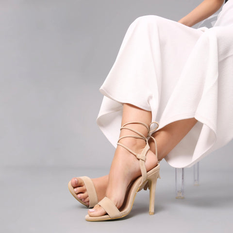 Lace and Wrap Stiletto Heel in Nude Suede