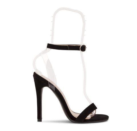 Perspex Strip Sandal in Black Suede