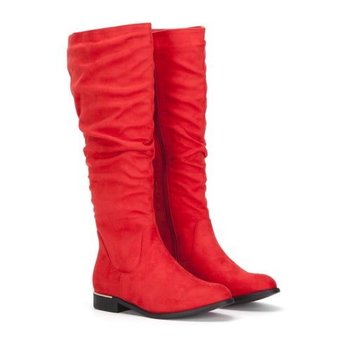 Red Knee High Slouch Flat Suede Boots