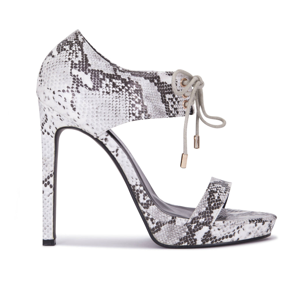 Snake Skin Lace Cuff Sandal in Black/White