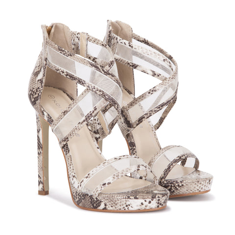 Mesh Criss Cross Sandal in Nude Snake