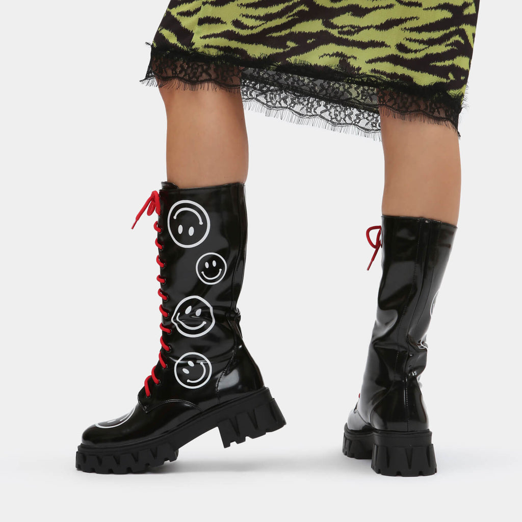 KOI Footwear Feliz Smiley Black Knee High Boots Vegan Knee High Boots view 2