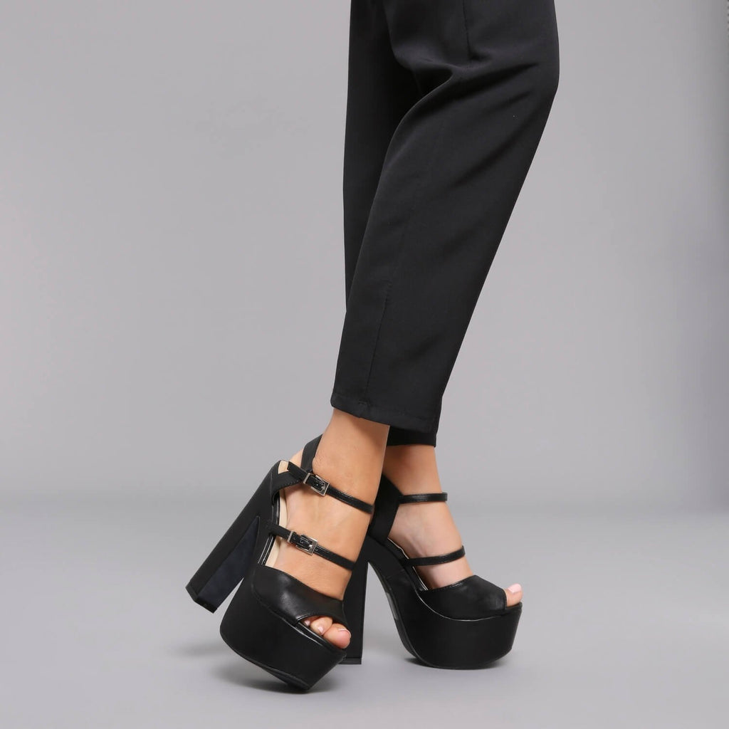 Double Strap Platform Sandal in Black