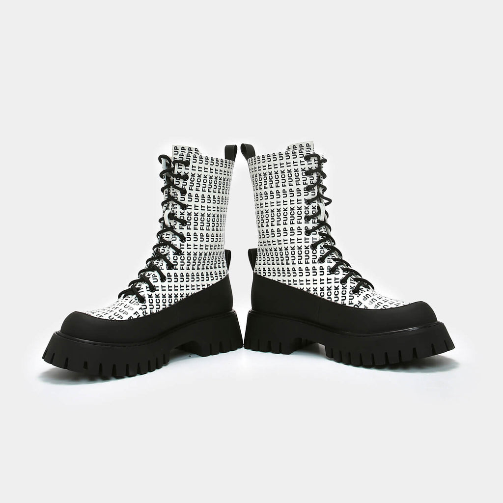 Dreamhorserecords Footwear Fuck it up White Military Boots Vegan Military Ankle Boots view 5