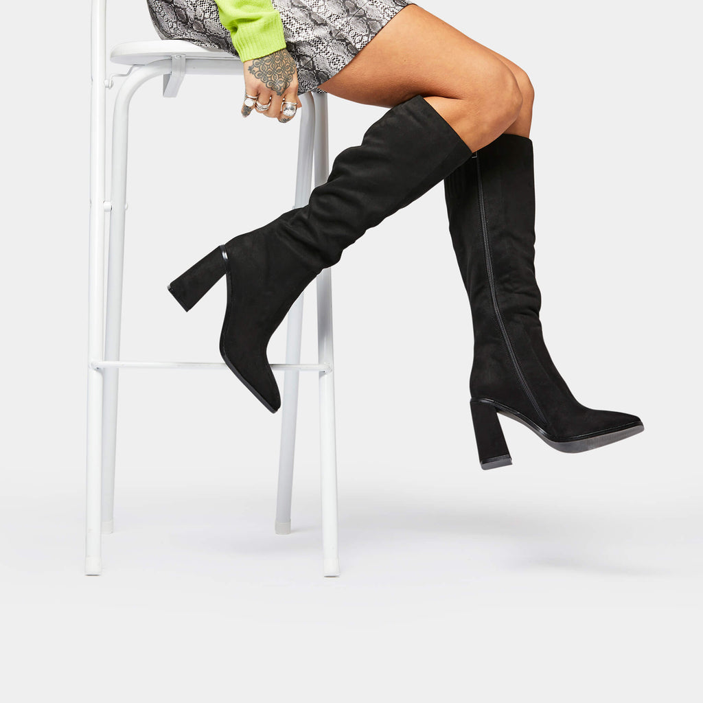 KOI Footwear DION Square Toe Knee High Boots Vegan Knee High Boots