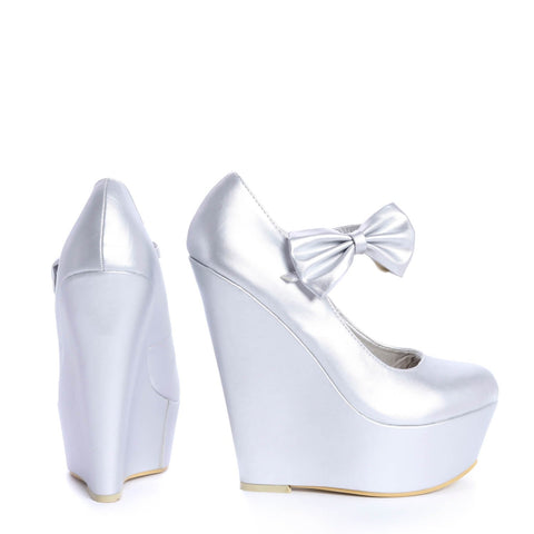 Bow Platform Wedge in Silver