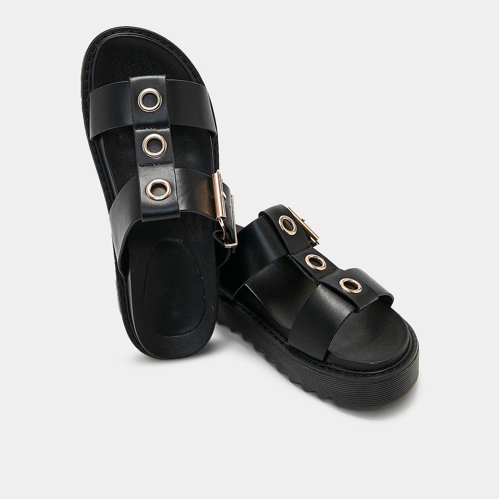 ZODY Footwear Zamak Black Gladiator Sliders Vegan Gladiator Sandals view 4