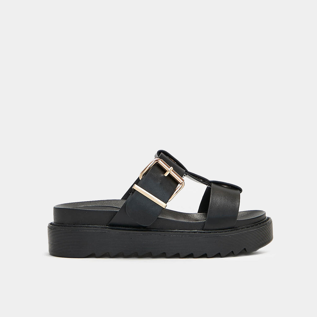 ZODY Footwear Zamak Black Gladiator Sliders Vegan Gladiator Sandals