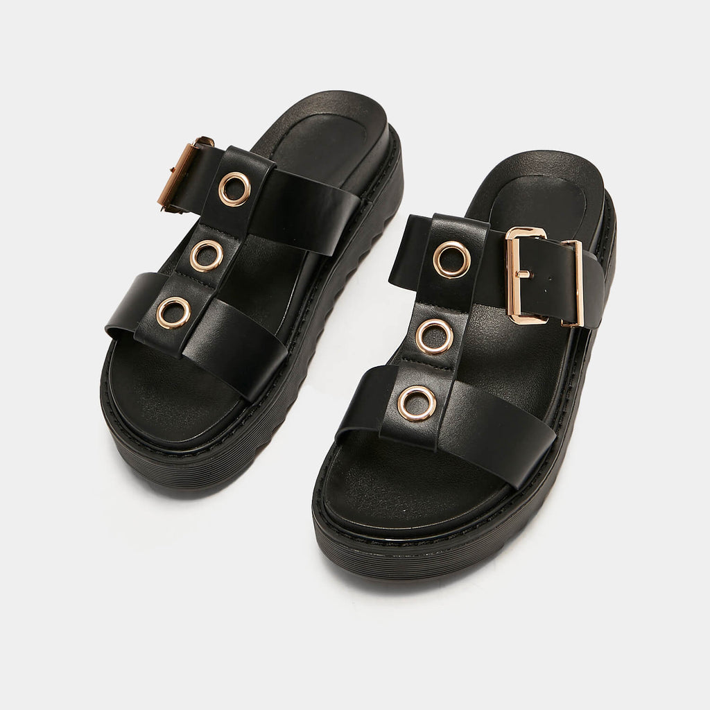ZODY Footwear Zamak Black Gladiator Sliders Vegan Gladiator Sandals view 5