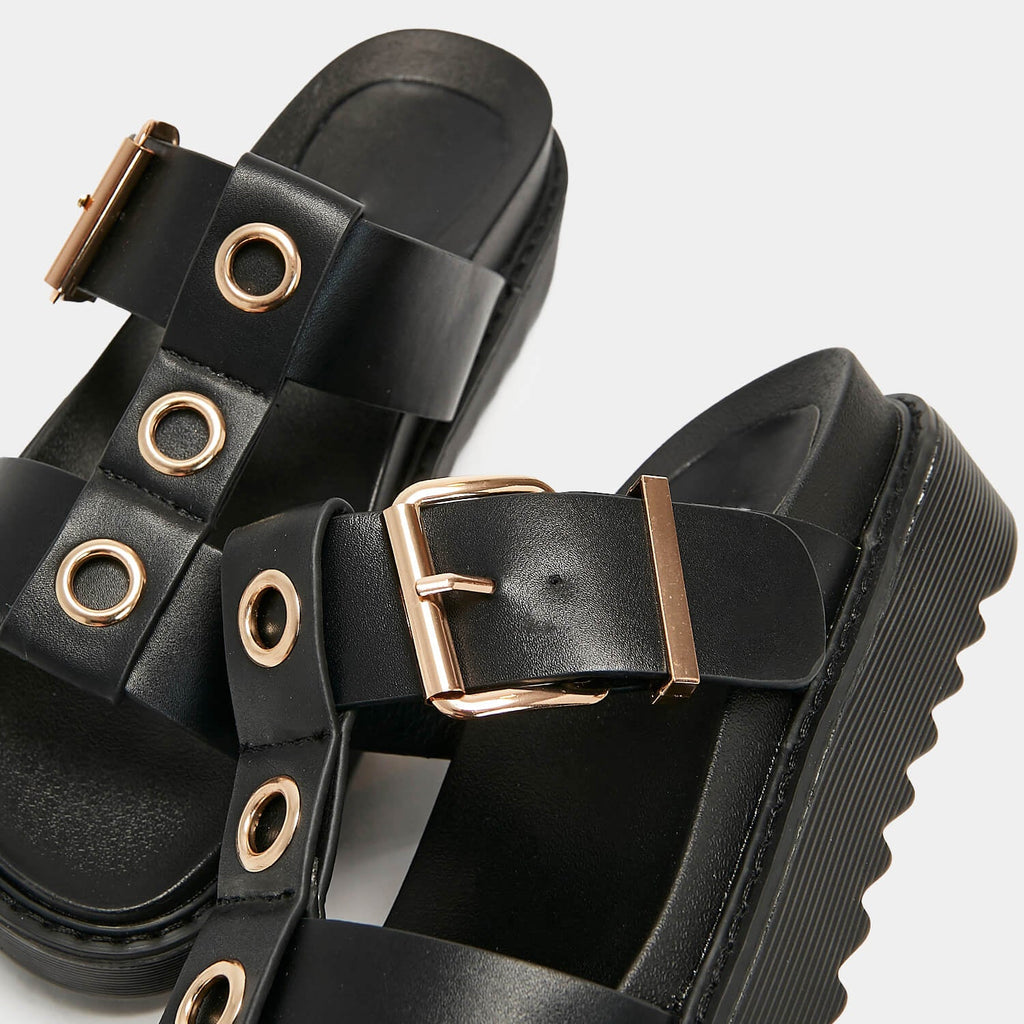 ZODY Footwear Zamak Black Gladiator Sliders Vegan Gladiator Sandals view 2