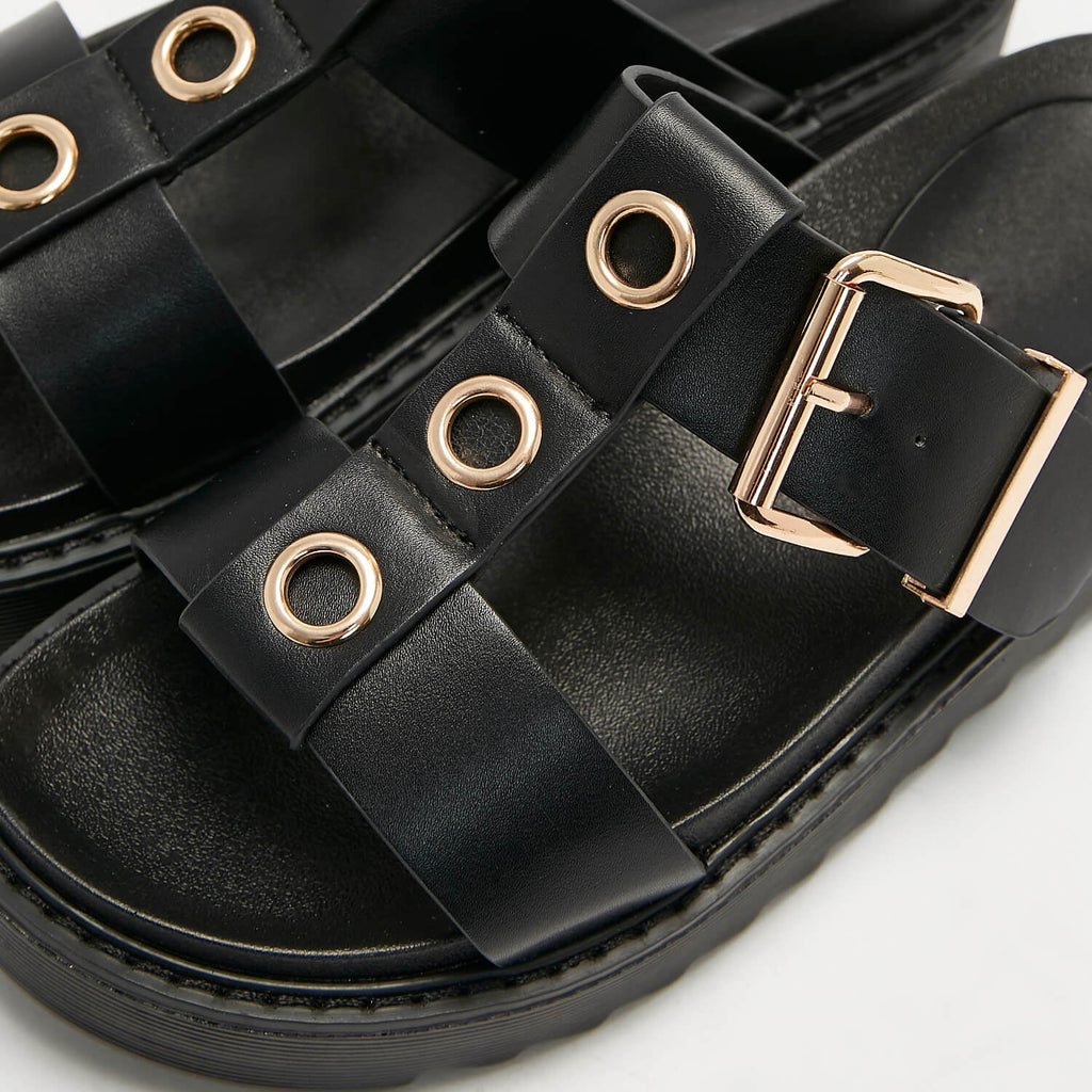 ZODY Footwear Zamak Black Gladiator Sliders Vegan Gladiator Sandals view 6