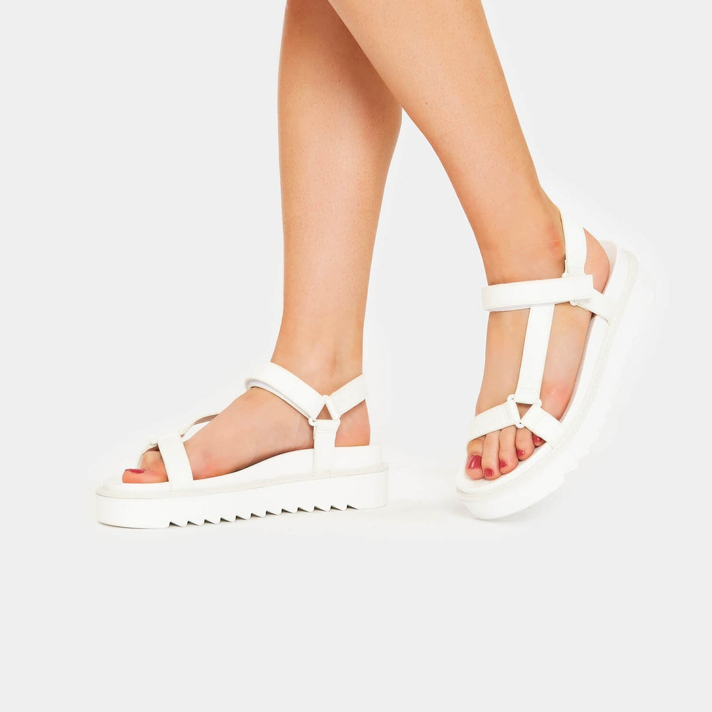 ZODY Footwear Amari Barely There White Sandals Vegan Strappy Sandals view 4