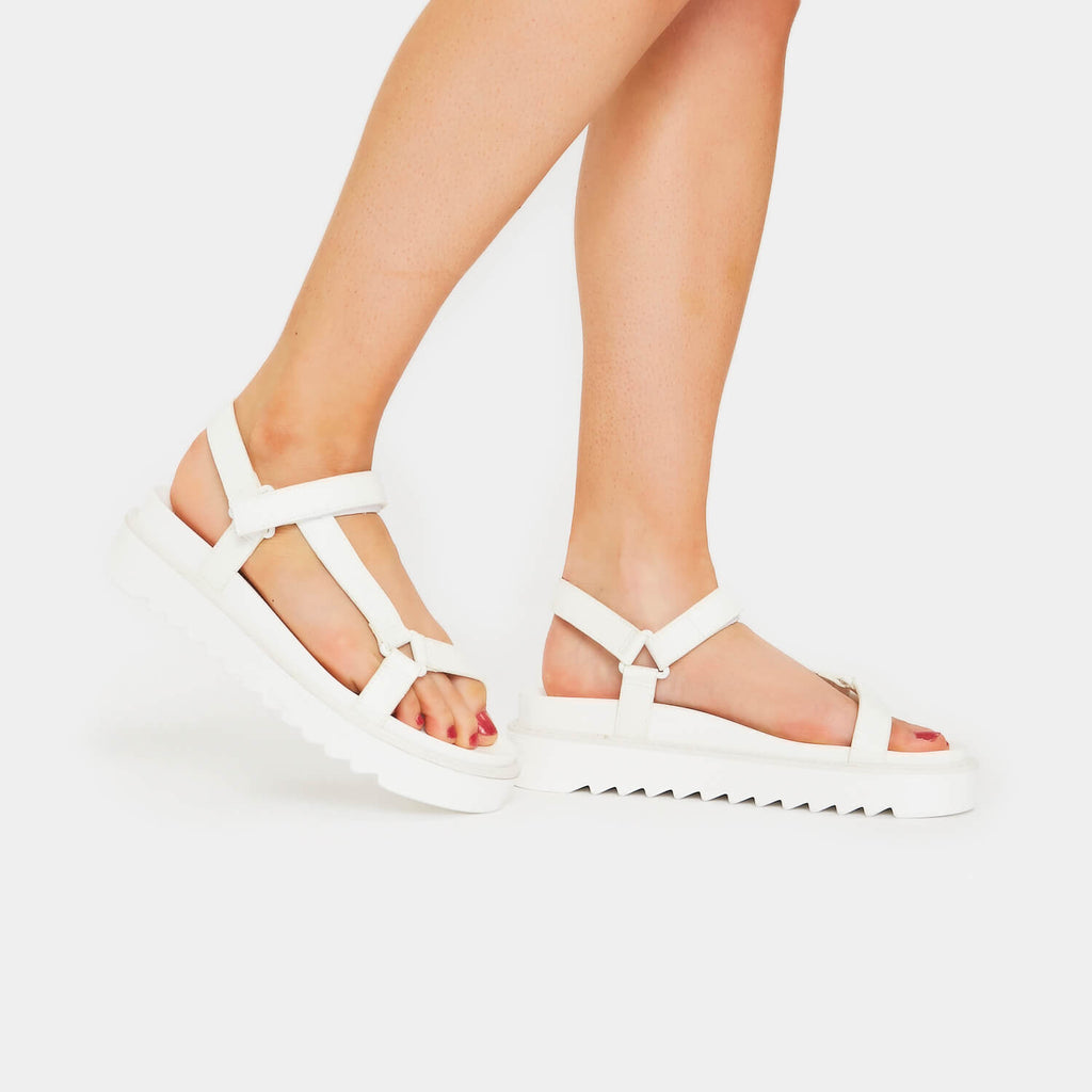 ZODY Footwear Amari Barely There White Sandals Vegan Strappy Sandals view 2
