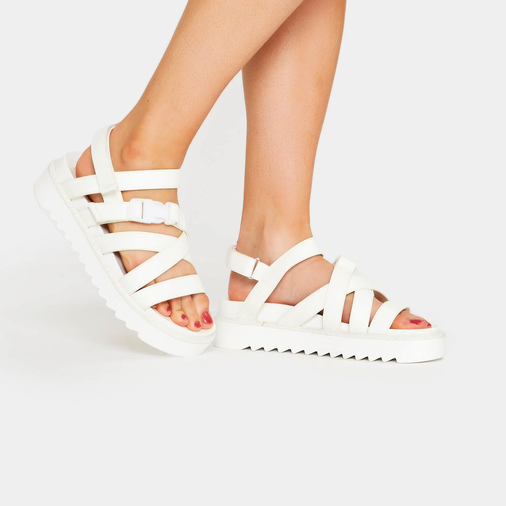 ZODY Footwear Zola Extra Strappy White Sandals Vegan Flat Sandals view 5