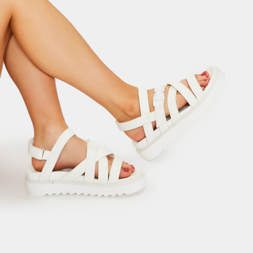 ZODY Footwear Zola Extra Strappy White Sandals Vegan Flat Sandals
