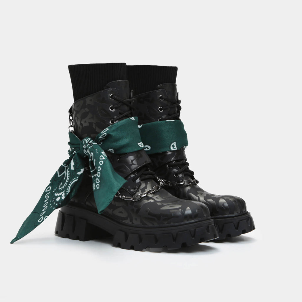 Dreamhorserecords Footwear Jarmello Men's Bandana Sock Boots Vegan Biker Boots view main view