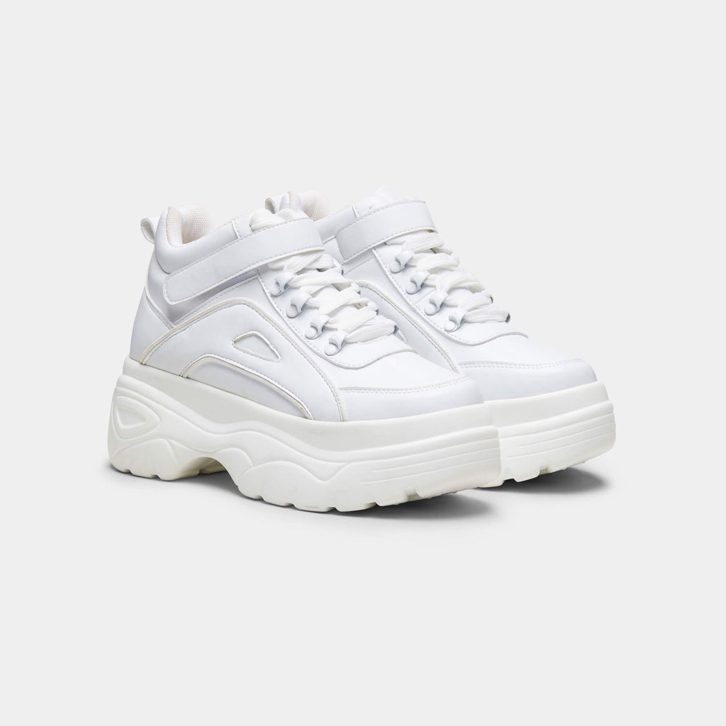 White MITZU Chunky Bubble High Top Trainers 3 view 3