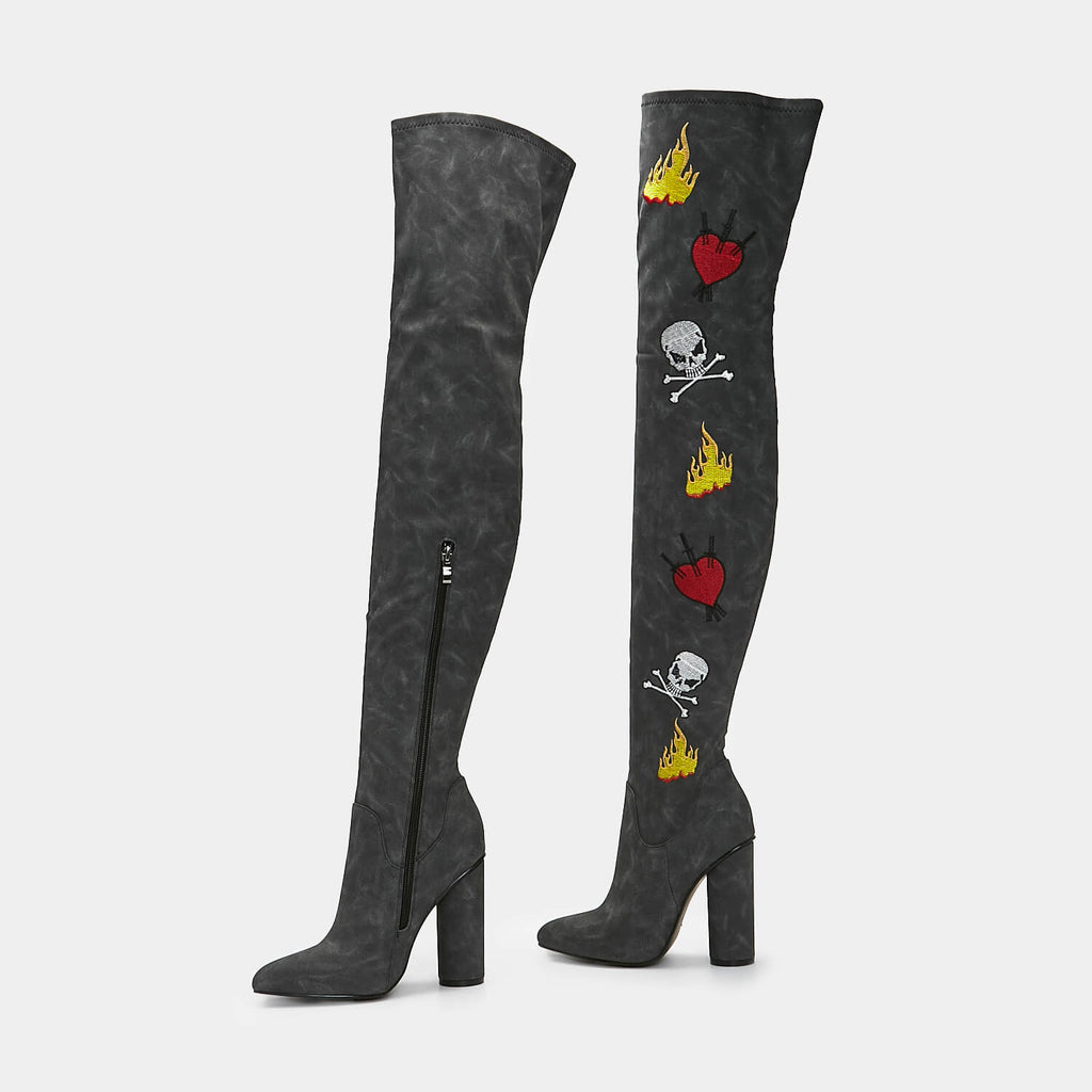 ZODY Footwear Nightwish Punk Over The Knee Boots Vegan Heeled Long Boots view 4