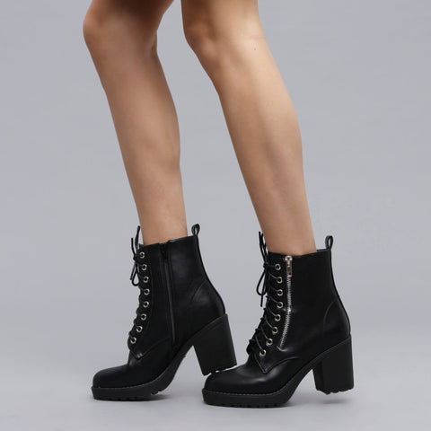 Black Side Zip Lace up Ankle Boots