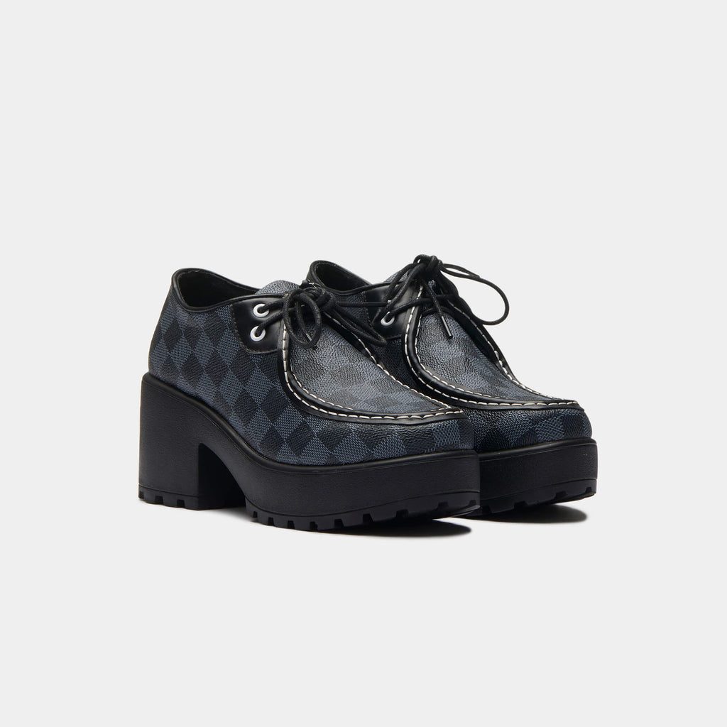 KOI Footwear Amii Checkered Chunky Shoe Vegan Chunky Platform Shoes view 3