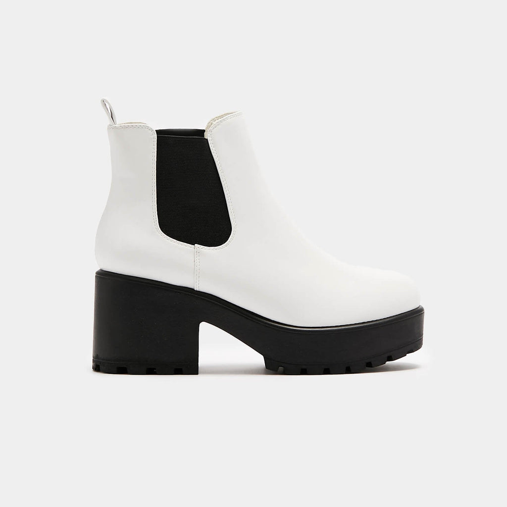 KOI Footwear Kai White Chunky Chelsea Boots Vegan Chelsea Boots view 2