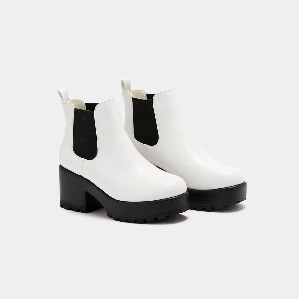 KOI Footwear Kai White Chunky Chelsea Boots Vegan Chelsea Boots view 3