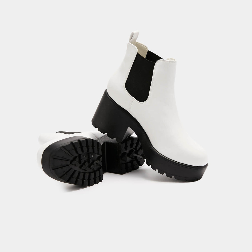KOI Footwear Kai White Chunky Chelsea Boots Vegan Chelsea Boots view main view