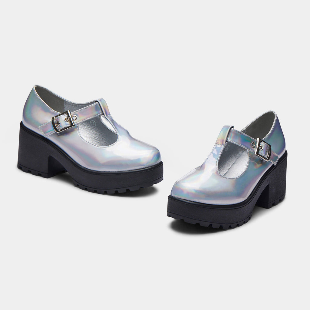 Silver SAI Hologram Mary Janes 1 view main view