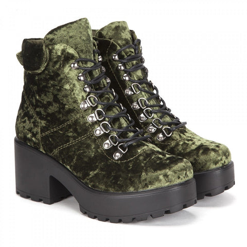 Green Ski Hook Chunky Platform Crushed Velvet Hiking Boots