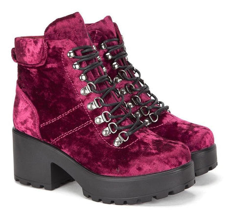 Burgundy Wine Ski Hook Chunky Platform Crushed Velvet Hiking Boots