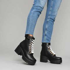 3f4a1d1d24d Black Chunky Platform Biker Boots with White Laces and Ski Hooks ...