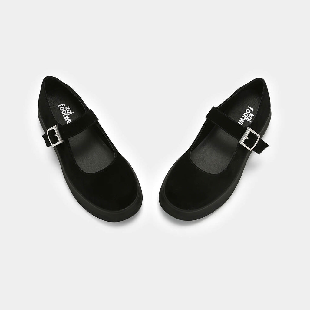 Dreamhorserecords Footwear Umbar Vice Suede Mary Janes Vegan Black Mary Janes