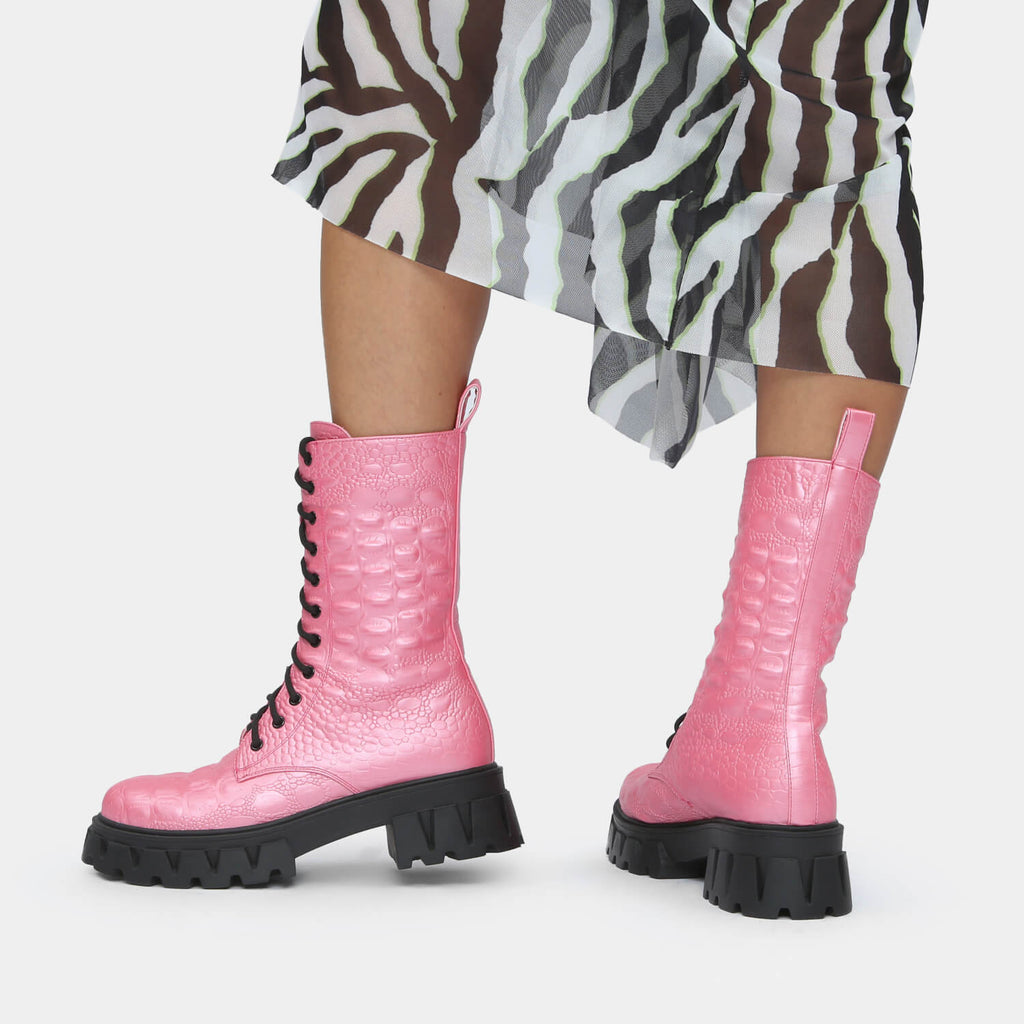 KOI Footwear Fontaine Pink Croc Military Boots Vegan Military Ankle Boots view 2