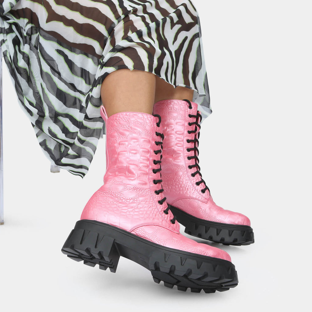 KOI Footwear Fontaine Pink Croc Military Boots Vegan Military Ankle Boots view 5