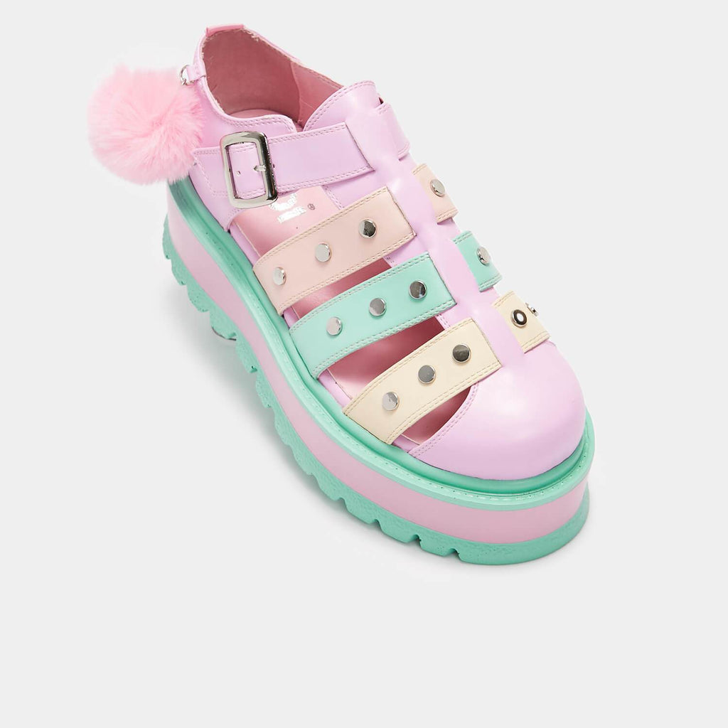 KOI Footwear Nyoka Rainbow Pastel Sandals Vegan Flatform Sandals view 4
