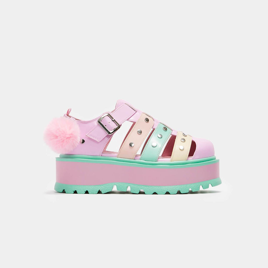 KOI Footwear Nyoka Rainbow Pastel Sandals Vegan Flatform Sandals