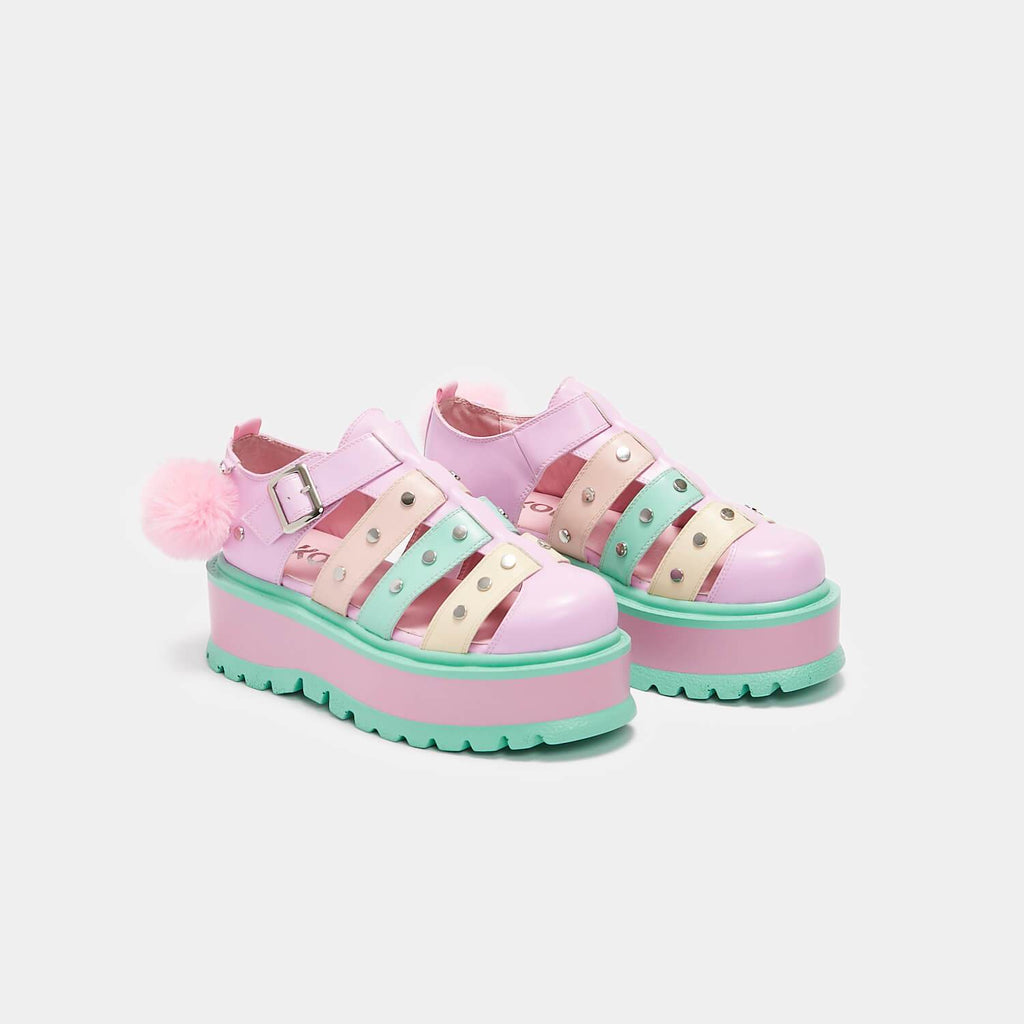 KOI Footwear Nyoka Rainbow Pastel Sandals Vegan Flatform Sandals view 3