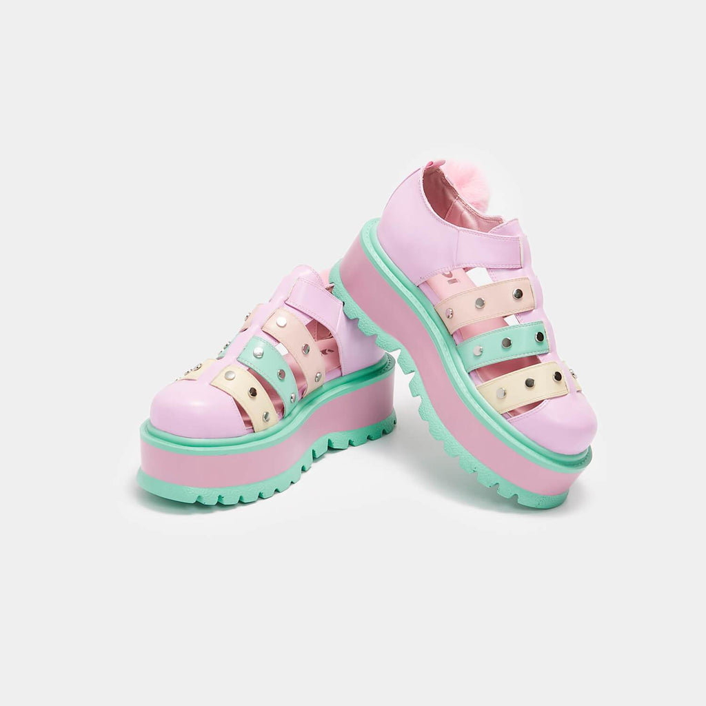 KOI Footwear Nyoka Rainbow Pastel Sandals Vegan Flatform Sandals view 2