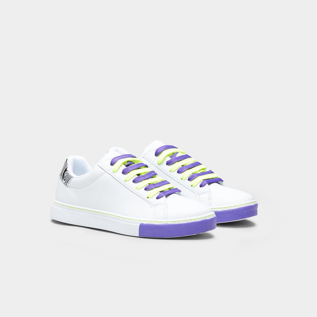 White PSILO Psychedelic Neon Trainers 3 view 3