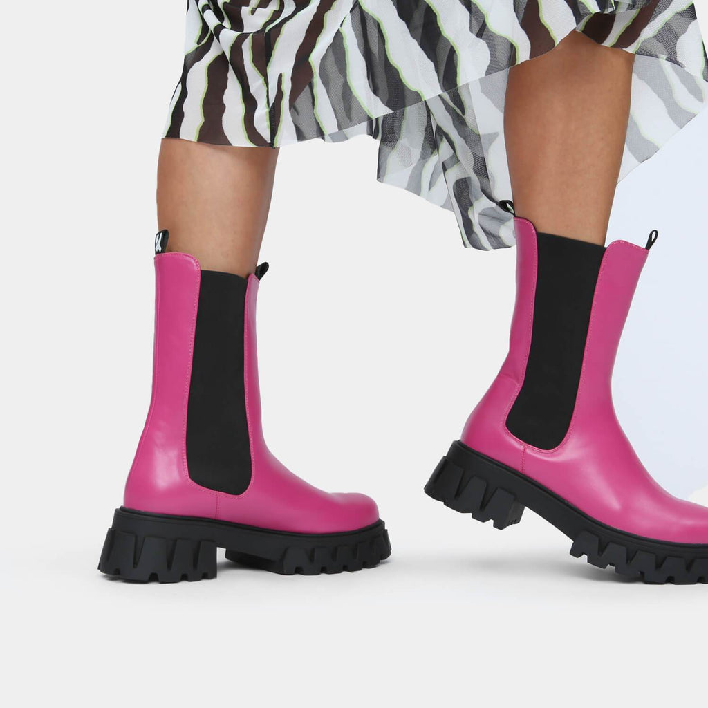KOI Footwear Sentry Tall Fuchsia Chelsea Boots Vegan Chelsea Boots view 7