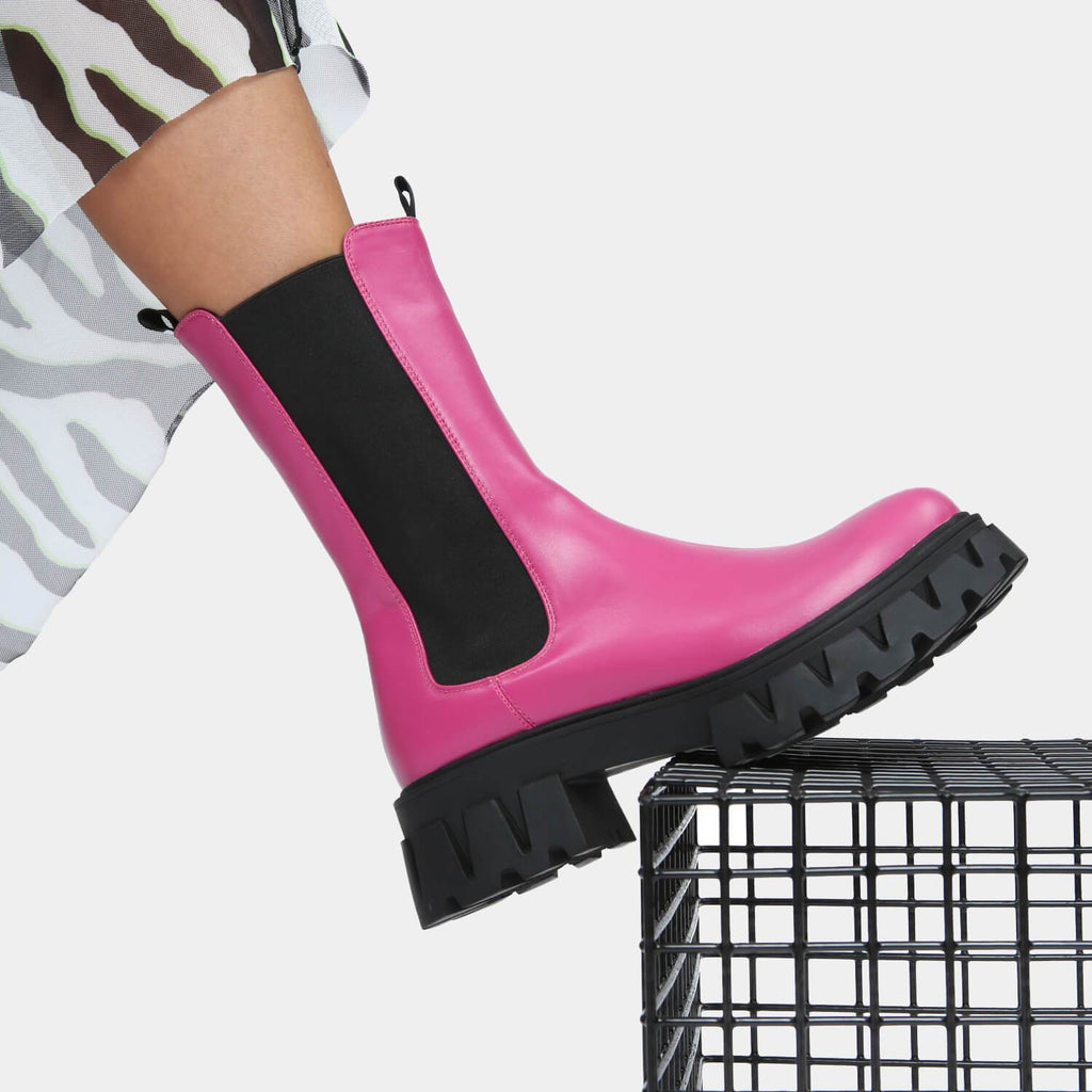 KOI Footwear Sentry Tall Fuchsia Chelsea Boots Vegan Chelsea Boots view main view